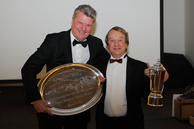 Tim accepting the Peter Collins Tray and the Class C trophy from Charles Morgan at the Drivers Awards night November 2011.